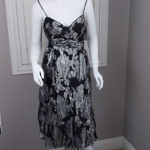 Calvin Klein Tie Waist Silver Embroidered Dress